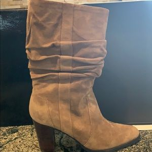Leather Mocha slouch style heeled boots